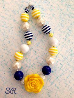 Navy & Yellow Chunky Necklace. $16.00, via Etsy.