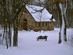 Kiel, WI: Snowy Church in Elkhart Lake
