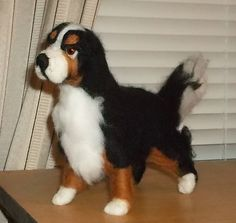 Bernese Mountain Dog Needle Felted Sculpture by KathysCraftShop on Etsy