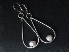white baroque pearl teardrop sterling silver earrings | june birthstone | gugma jewelry