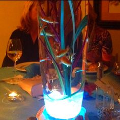 Cool live fish table centerpiece.