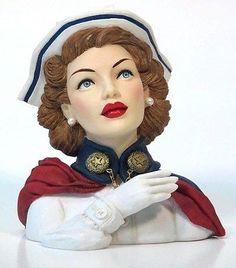 Cameo-Girls-Head-Vase-Agibail-1942-034-WWII-Nurse-034-MIB-FREE-SHIPPING