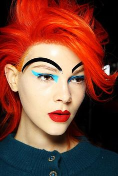 Romance Was Born runway makeup at MBAFW - screams early 80's Adam Ant and Duran Duran
