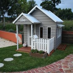 A charming addition to any backyard. Looks beautiful in weatherboard and our shop servery added. Any little childs dream and definitely a Cubby Central favourite. Now on Display - 21 Woods Street , Beaconsfield Victoria Kids Cubby Houses, Kids Cubbies, Dog Houses, Play Houses, Kids Wooden Playhouse, Diy Playhouse, Playhouse Outdoor, Ventura Homes, Wendy House