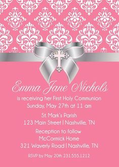 Damask Bow First Communion Invite - Printable Baptism or Christening Invitation First Communion Invitations, Christening Invitations, Pink Invitations, Invitation Cards, Birthday Invitations, Wedding Invitations, Invite, Business Invitation, Invitation Wording