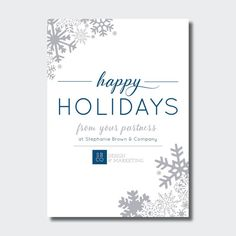 happy holidays business card corporate winter holiday neutral client christmas card blue and silver holiday - Christmas Cards For Clients
