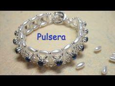 Pearl vine Bracelet & Earrings Updated video for Beginners. Beaded Bracelets Tutorial, Diy Bracelets Easy, Bead Loom Bracelets, Woven Bracelets, Handmade Bracelets, Beaded Jewelry Patterns, Bracelet Patterns, Handmade Wire Jewelry, Diy Crystals