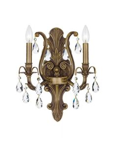 2 Candle Light Vintage Crystal Decorated Brass Wall Sconce