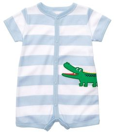 Carters Baby Boys 1piece ShortSleeve Creeper 6 Months BlueWhite Stripe -- You can get additional details at the image link.