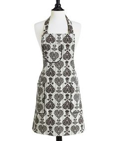 Take a look at this Ikat Damask Chefs Bib Apron - Women by Jessie Steele on #zulily today! $18.99, regular 34.00. Add an extra-sweet touch to an afternoon of baking with this smart apron. Adjustable ties create a personalized fit that flatters any chef. If a bit of batter escapes the bowl, never fear—this apron's all-cotton construction washes up just swell.    •33'' W x 30'' H •100% cotton •Machine wash •Imported