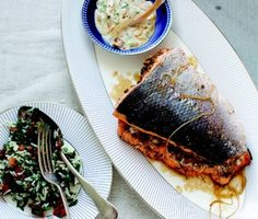 Lebanese Walnut and Herb-Stuffed Salmon Recipe.