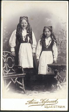Norwegian girls in folk dress
