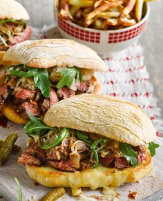 One of dad's favourite classics, the American Reuben sandwich is given a tasty twist by swapping in perfectly cooked steak. Taking just 35 minutes to make, it combines soft ciabatta, rump steak, Gruyère, peppery rocket and sauerkraut. | Tesco