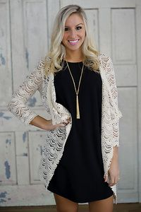 Scalloped crochet lace open cardigan by Hazel Clothes. Natural color