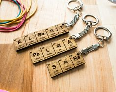 Wooden keychain birthday gift idea best friend keyring keychains periodic table name keychain gifts for him gifts for her urtaz Image collections