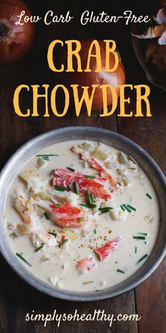 This Low-Carb Crab Chowder recipe makes a delicious soup for a cozy lunch or dinner. This soup contains no grains and is low-carb LC/HF ketogenic diabetic Atkins gluten-free and Banting diet friendly. Ketogenic Recipes, Low Carb Recipes, Diet Recipes, Cooking Recipes, Healthy Recipes, Dessert Recipes, Ketogenic Diet, Banting Recipes, Lunch Recipes