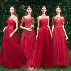 Prom Dresses For Teens, collectionsall?best=Elegant Red Bridesmaid Dresses 2019 A Line Princess Appliques Lace Beading Floor Length Long Ruffle Wedding Party Dresses , Short prom dresses and high-low prom dresses are a flirty and fun prom dress option. Red Bridemaids Dresses, Burgundy Bridesmaid Dresses Long, Cheap Bridesmaid Dresses Online, Red Bridesmaids, Tulle Bridesmaid Dress, Cheap Homecoming Dresses, Cheap Dresses, Satin Duchesse, Wedding Party Dresses