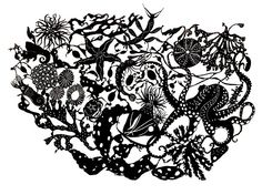 juliamckenzieartist: 'Crucible' rockpool drawing, it has taken ages! just needs the night skies screen printed on and then laser cut. see m. Rock Pools, Magical Creatures, Night Skies, Paper Cutting, Screen Printing, Pattern Design, Beast, Creations, Design Inspiration