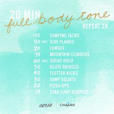 We want you to make this summer your happiest and healthiest yet! That's why we're so excited to partner with CHAARG (Changing Health, Attitudes & Actions to Recreate Girls) on this post and more for their health and exercise tips. CHAARG girl, Grace, brings you this go-to 20-minute full body tone. #Aerie