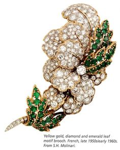 unusual tiffany jewels   Yellow gold, diamond and emerald leaf motif brooch. French, late 1950s ...