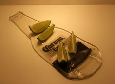 Recycled Corona Extra Beer Bottle lime plate by GoodCarMaCrafts