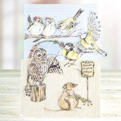 #Animal themed #GreetingCard made from the Serif Wildflower Hollow CD ROM. Available to buy at Create and #Craft - http://www.createandcraft.tv/Serif_Wildflower_Hollow_Digikit_Collection_Double_CD_ROM-338057.aspx?fh_location=//CreateAndCraft/en_GB/$s=serif #Papercraft #Cardmaking