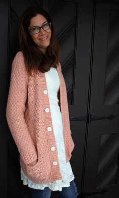 d1cabe077c3 Ravelry  Paloma cardiganpattern in peach by Thea Colman with lace tunic and  jeans Pulls