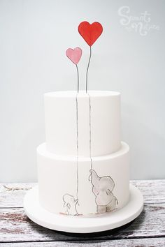 Delicate hand painted bunny and elephant for this engagement cake | Made by Sweet by Nature, Melbourne VIC