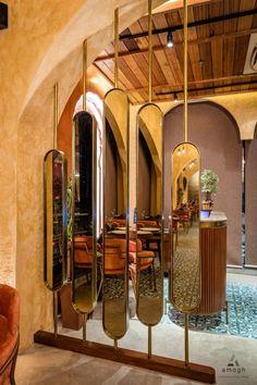 Interior of Kake di Hatti-Dhaba style restaurant - Luxury Club Italian Interior Design, Salon Interior Design, Boutique Interior, Restaurant Interior Design, Restaurant Interiors, Cafe Interiors, Modern Restaurant, Living Room Partition Design, Room Partition Designs
