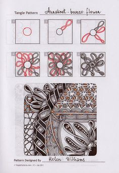 Zentangle. Обучение. Lots of good step-by-step patterns
