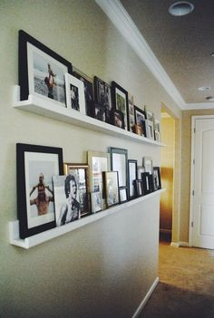 Great Idea for photos in a long hallway - Notes From Nessa : DIY Picture Ledges ideas paint ideas entrance ideas small hallway ideas halls hallway decorating Decoration Entree, Decoration Bedroom, Room Decorations, Regal Design, Diy Casa, Floating Shelves Diy, Hanging Shelves, Diy Hanging, Display Shelves