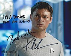 Ian McAnerin shared a photo on Facebook of him getting a signature from Karl Urban, the actor who played Dr Leonard McCoy in the Star Trek Reboots movie. He had