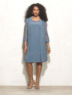 Plus Size Glitter Mesh Jacket Dress