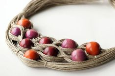 Linen necklace wooden beads necklace colourful by Textile Jewelry, Fabric Jewelry, Beaded Jewelry, Beaded Necklace, Jewelry Rings, Jewellery, Wooden Bead Necklaces, Wooden Beads, Ring Sketch