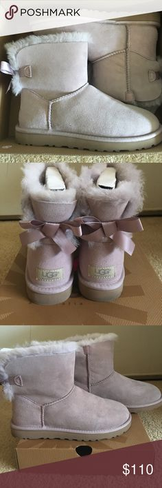 Brand new Ugg! Brand new light purple colored Uggs. Soft purple satin in the back of the shoes. Never worn, size 7. UGG Shoes Ankle Boots & Booties