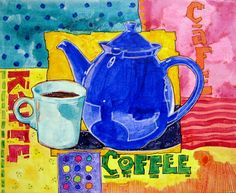 Coffee  Mixed Media on canvas panel  8x10