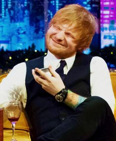 Ed Sheeran looking just utterly happy with glee.