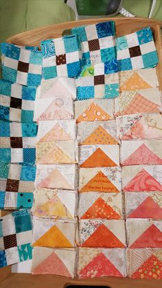 Clue 1 and 2 completed for Bonnie Hunter's Quiltville Mystery 'On Ringo Lake'.  Be sure to check out more at http://quiltville.blogspot.com/2017/12/mystery-sunday-link-up-part-2.html