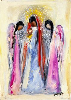 "DeGrazia's angels, ""Untitled - Madonna and Angels"", oil on canvas. DeGrazia Gallery."