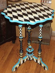 Hand Painted Harlequin Black White Check Table Antique Freshly Painted Harlequin Black White Check Table Mackenzie By Whimsicalchecks Whimsical Painted Furniture, Hand Painted Furniture, Funky Furniture, Classic Furniture, Paint Furniture, Repurposed Furniture, Furniture Plans, Furniture Makeover, Furniture Decor