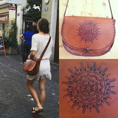Using one of own creations while out and about in Europe.  Fair Trade Coffee, Leather Pieces, Europe, Handmade, Bags, Hand Made, Purses, Totes, Craft
