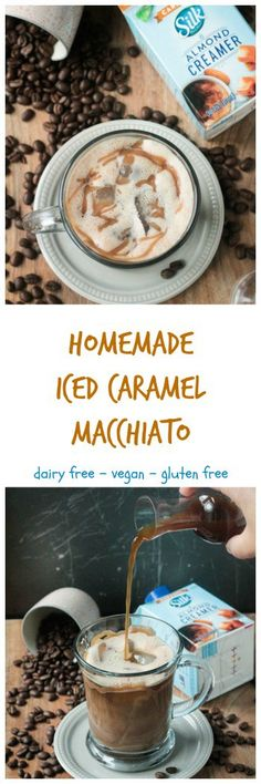 Homemade Iced Caramel Macchiato #ad #SilkandSimplyPureCreamers - just like your favorite coffee house drink, but made in the comfort of your own home. Dairy free and gluten free with a caffeine kick,  (Chocolate Milkshake Dairy Free)