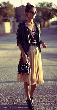 Soft and edgy all at the same time:  soft skirt with the leather jacket and chunky black heels