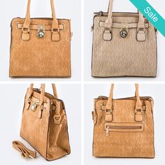 "Dooney Inspired-Padlock Embossed Logo Shoulder Bag - Classy, Sassy and versatile goes everywhere, casual or dressy! Length - 12.5"" /Width - 6"" /Height - 12"" / 20"" with Handle - On Sale for $32.00 (was $69.00)"