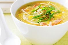 Chicken and sweet corn soup - Disregard Egg - Disregard Ham - Extra Ginger - BBQ Chicken Chicken And Sweetcorn Soup, Chicken Corn Soup, Sweet Corn Soup, Bbq Chicken, Corn Soup Recipes, Easy Chicken Dinner Recipes, Healthy Weeknight Meals, Healthy Recipes, Food Is Fuel