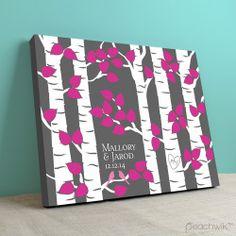 Birchwik Wedding Guest Tree Alternative Guestbook by Peachwik | Wedding Colors: Charcoal Grey, Fuschia, White, Pink | Canvas