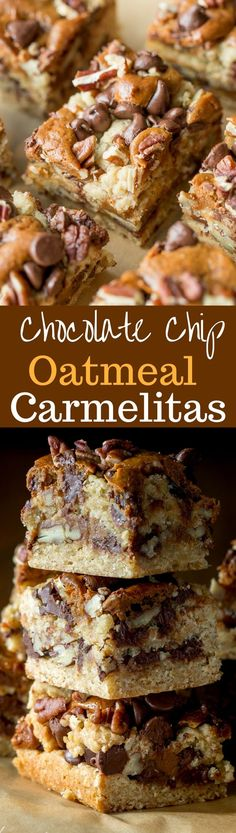 Chocolate Chip Oatmeal Carmelitas - loads of pecans, chocolate chips, and dollops of dulce de leche piled on an oatmeal crust, then baked into a delicious treat! Always a favorite cookie bar | www.savingdessert.com