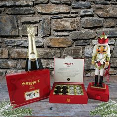 Maxim's de Paris Gift Box with a fully fuctioning nutcracker with truffles. Types Of Champagne, Truffle Boxes, Paris Gifts, Gourmet Gift Baskets, Sparkling Wine, Perfect Christmas Gifts, Prosecco, Truffles, Wines