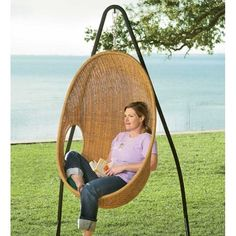Talya - Outdoor Wicker Swing Chair at $465.00 Via              Belina - Nature Wicker Porch S wing Chair - Great Hammocks - Model - DL001...