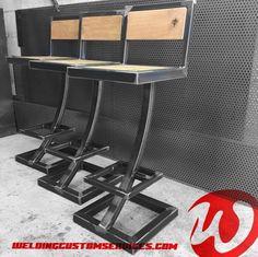 Tabouret de bar acier et chêne massif, Welded Furniture, Iron Furniture, Simple Furniture, Steel Furniture, Plywood Furniture, Diy Furniture Projects, Furniture Makeover, Furniture Design, Oak Bar Stools